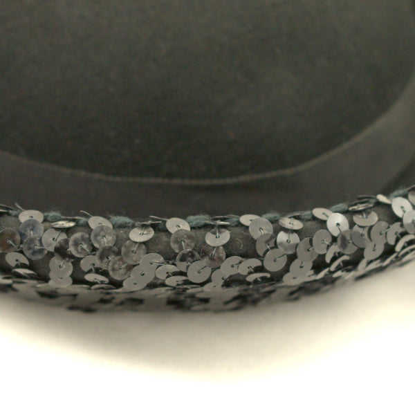 1960s Black Sequin Sailor Hat - Cats Like Us