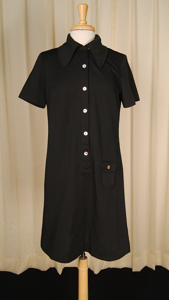 1960s Black Shirt Dress