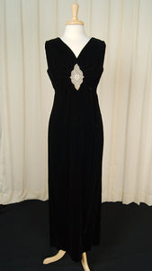 1960s Black Velvet Maxi Dress by Cats Like Us - Cats Like Us