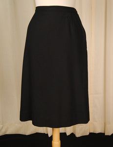 1960s Black Wool Skirt by Vintage Collection by Cats Like Us - Cats Like Us