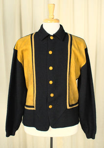 1960s Vintage Men's Black & Mustard Cardigan