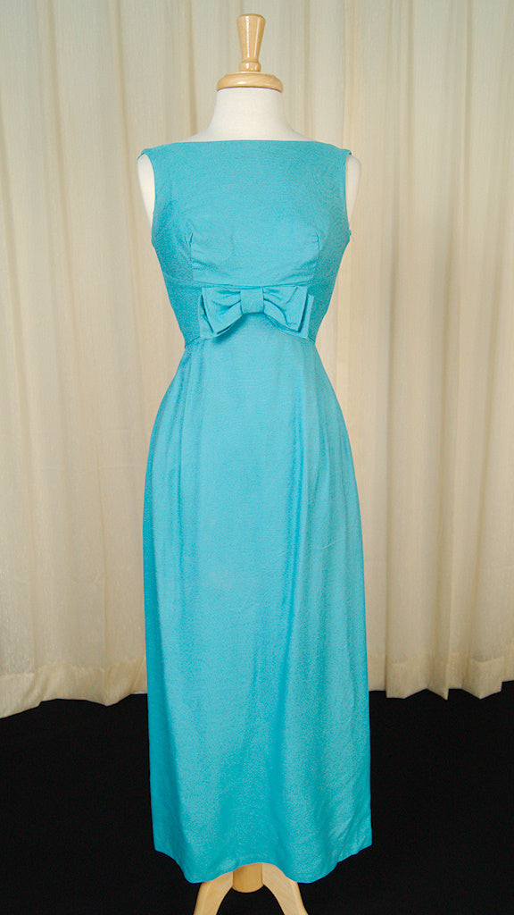 1960s Blue Bow Maxi Dress by Cats Like Us - Cats Like Us