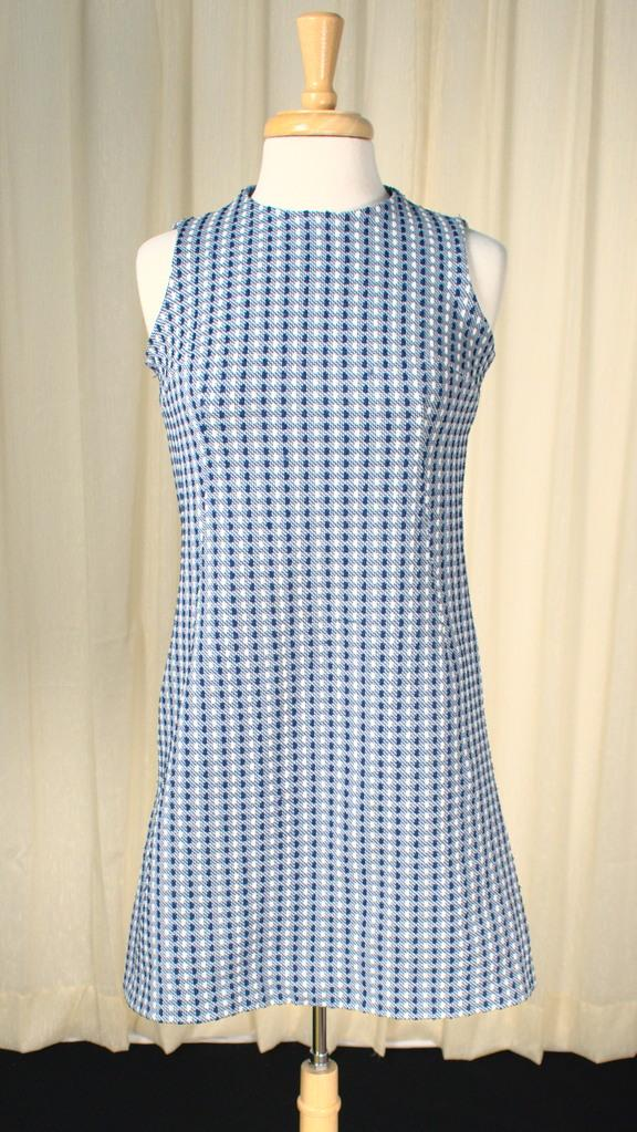 1960s Blue Dotted Shift Dress