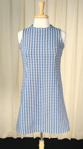 1960s Blue Dotted Shift Dress - Cats Like Us