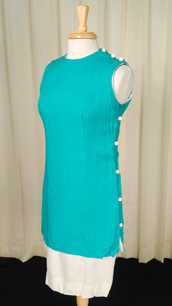 1960s Blue Linen Tunic Dress by Cats Like Us - Cats Like Us