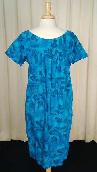 1960s Blue Pineapple Muu Muu by Cats Like Us - Cats Like Us