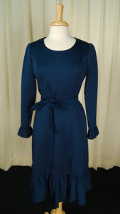 1960s Blue Ruffle Shift Dress by Vintage Collection by Cats Like Us - Cats Like Us
