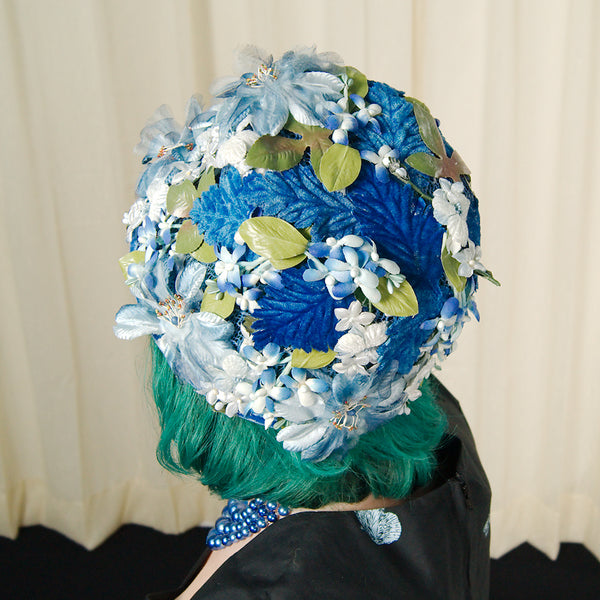 1960s Blue Velvet Floral Hat by Cats Like Us - Cats Like Us