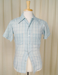 1960s Blue Window Check Shirt