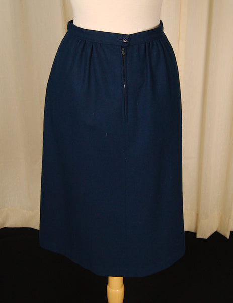 1960s Blue Wool Skirt by Vintage Collection by Cats Like Us : Cats Like Us