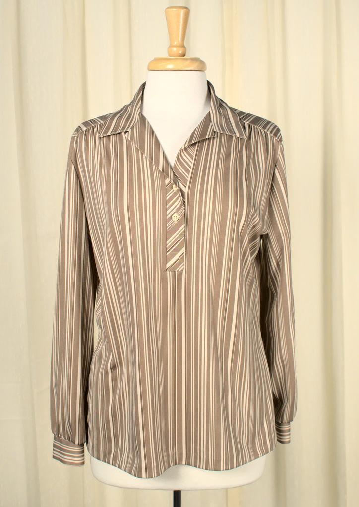 1960s Brown & Tan Striped Top