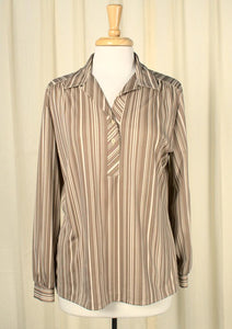 1960s Brown & Tan Striped Top - Cats Like Us