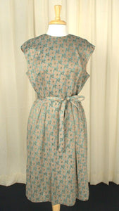 1960s Brown & Turq Party Dress - Cats Like Us