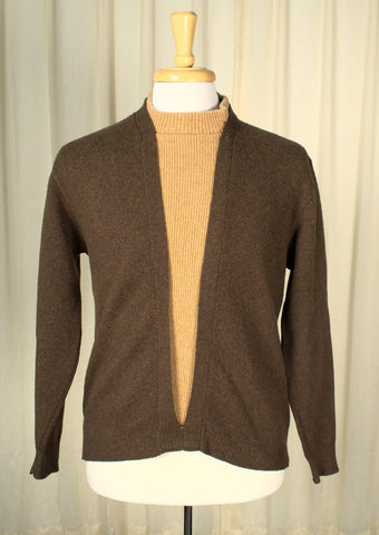 1960s Brown Faux Layer Sweater