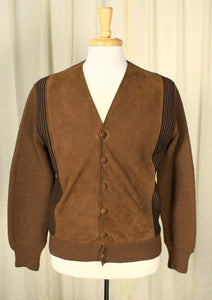 1960s Brown Faux Suede Cardigan