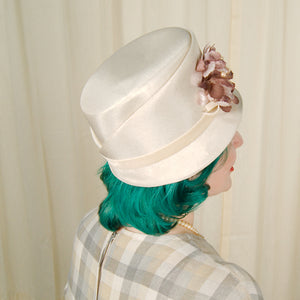 1960s Brown Floral Pearl Hat by Cats Like Us - Cats Like Us