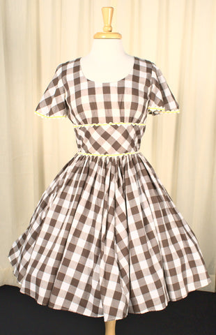 Vintage 1960s Brown Gingham Swing Dress
