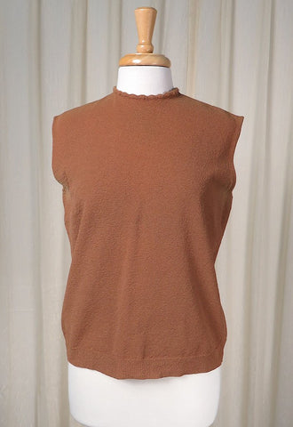 1960s Brown Knit Shell Top - Cats Like Us