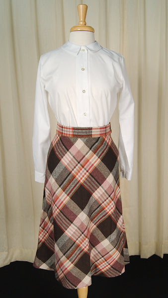 1960s Brown Plaid Skirt by Cats Like Us - Cats Like Us
