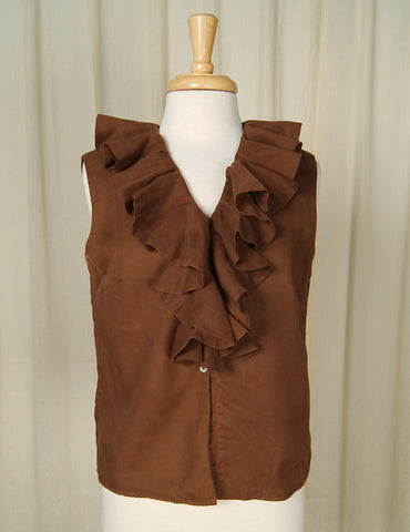 1960s Brown Ruffle Blouse by Cats Like Us - Cats Like Us