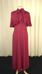 1960s Burgundy Capelet Maxi - Cats Like Us