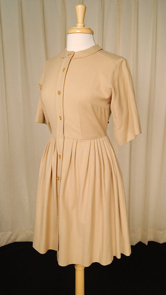 1960s Caramel Wool Shirt Dress by Vintage Collection by Cats Like Us - Cats Like Us