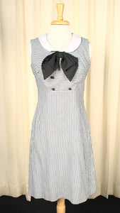 Vintage 1960s Charcoal Striped Dress