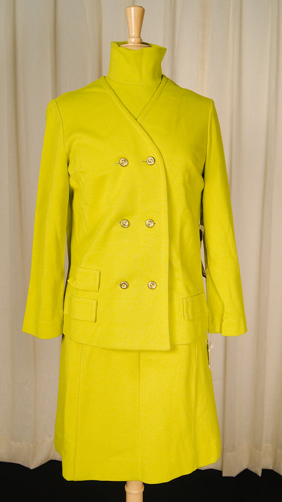 1960s Chartreuse Skirt Suit