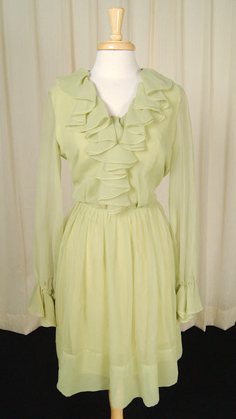 1960s Chiffon Lime Ruffle Dress by Cats Like Us - Cats Like Us