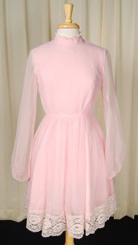 1960s Chiffon Pink Lace Dress