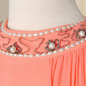 1960s Coral Beaded Maxi Dress