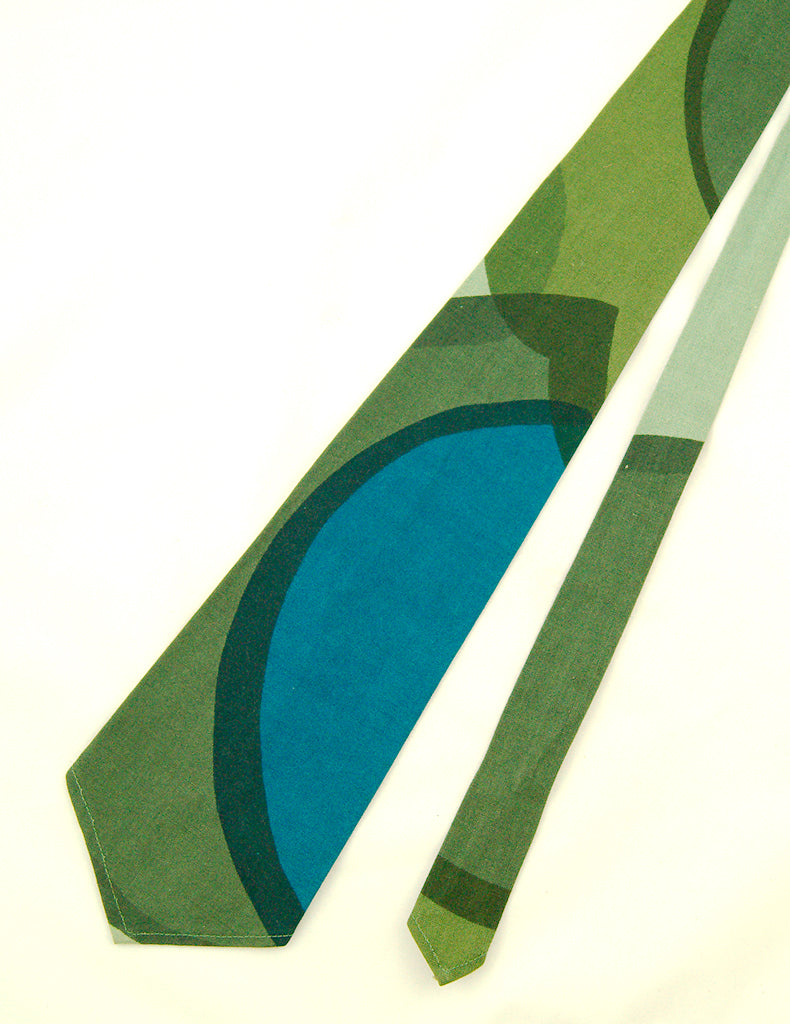 1960s Cotton Green Abstract Tie by Vintage Collection by Cats Like Us - Cats Like Us