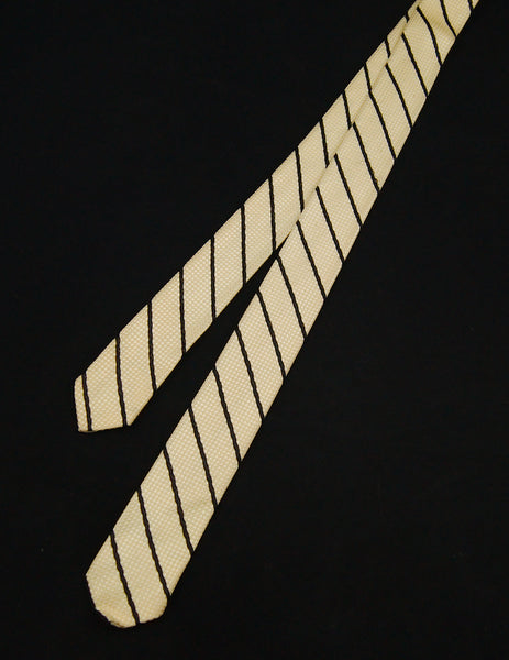 1960s Cream & Black Stripe Tie by Cats Like Us - Cats Like Us
