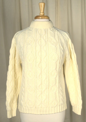 1960s Cream Cable Knit Sweater
