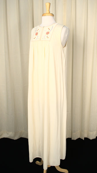 1960s Cream Emb Night Gown