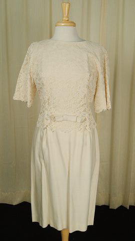 1960s Cream Lace Dress by Vintage Collection by Cats Like Us - Cats Like Us