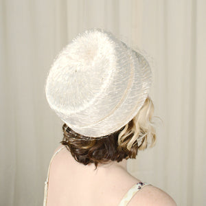 1960s Vintage Cream Raffia Pillbox Hat