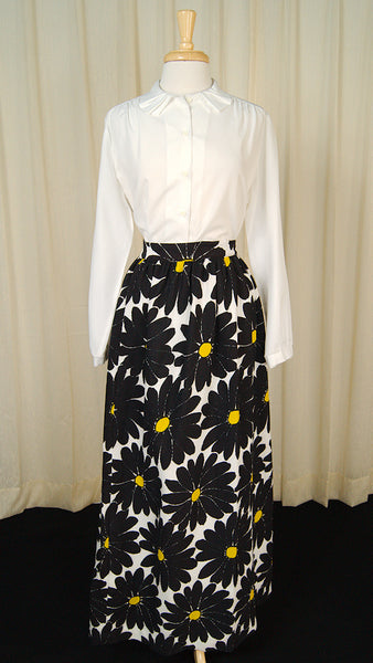 1960s Daisy Maxi Skirt w Wrap by Cats Like Us - Cats Like Us
