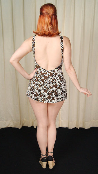 1960s Dotted Skirt Bathing Suit - Cats Like Us