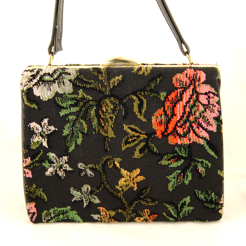 1960s Floral Carpet Handbag by Vintage Collection by Cats Like Us - Cats Like Us