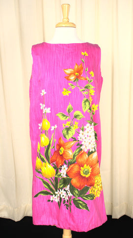 1960s Floral Handscreened Vintage Dress