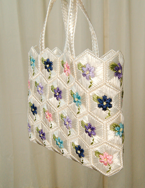 1960s Floral Raffia Totebag by Cats Like Us - Cats Like Us
