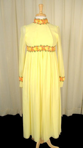 1960s Flower Child Maxi Dress - Cats Like Us