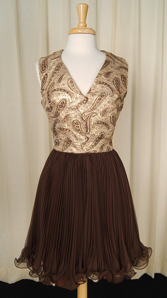 1960s Gold Paisley Swing Dress