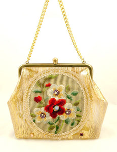 1960s Gold Tinsel Vinyl Handbag by Cats Like Us - Cats Like Us