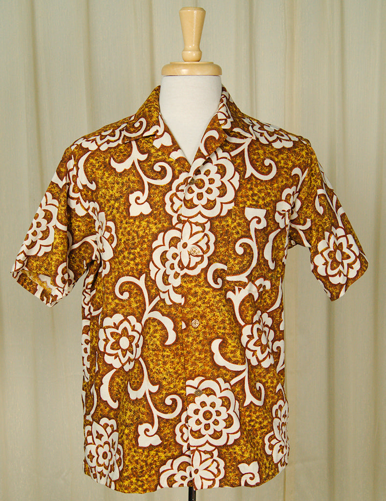 bbfe451d 1960s Golden Hawaiian Shirt by Vintage Collection by Cats Like Us - Cats  Like Us ...