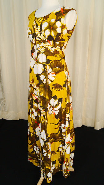 1960s Golden Hibiscus Dress by Cats Like Us - Cats Like Us