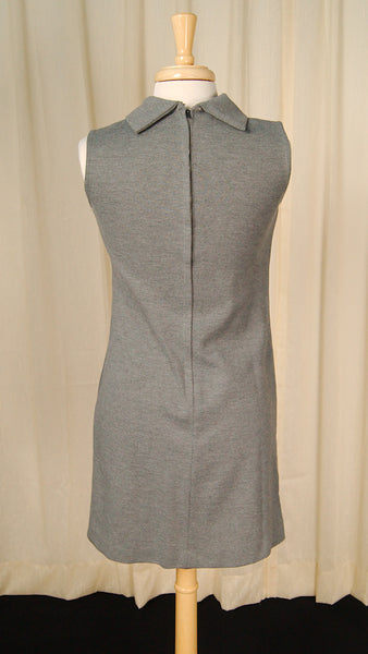 1960s Gray Knit Shift Dress by Vintage Collection by Cats Like Us - Cats Like Us