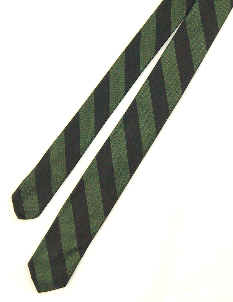 1960s Green & Black Striped Tie