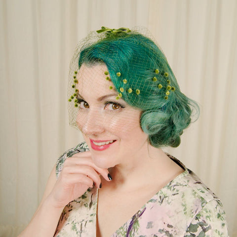 1960s Green Bow Veil Whimsy - Cats Like Us